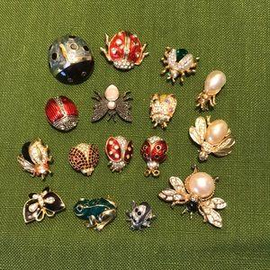 2 Swarovski ladybug, Monet, AAI, 12 no brand pins